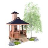 Outdoor garden design. 3d outdoor garden design with gazebo, plants and stones Royalty Free Stock Photo