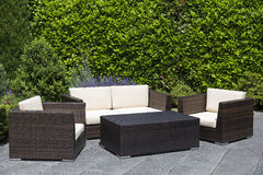 Outdoor garden furniture lounge group on terrace Royalty Free Stock Photography