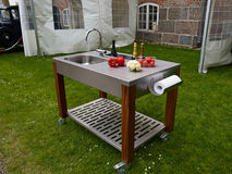Outdoor garden kitchen on wheels Stock Photos