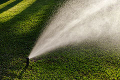 Outdoor garden lawn maintenance sprinkler watering system Royalty Free Stock Image
