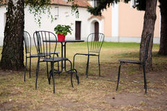 Outdoor garden patio furniture Stock Images