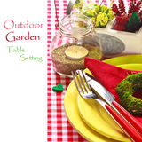 Outdoor garden table setting. Royalty Free Stock Image