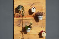 Outdoor garden wall decorations. Flower pots and bird houses hang on raw wooden panels. Royalty Free Stock Images