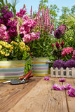 Outdoor gardening tools on old wood table Royalty Free Stock Photos