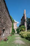 Visconti castle in Trezzo sull`Adda ITALY. Outdoor gardens of Visconteo Castle. Trezzo sull`Adda MILAN, ITALY - July 21, 2018 stock photos