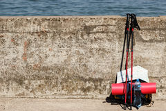 Outdoor gear left outside. Stock Image