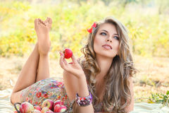 Outdoor girl portrait. Outdoor autumn portrait of beautiful young woman stock image