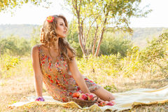 Outdoor girl portrait. Outdoor autumn portrait of beautiful young woman stock photos