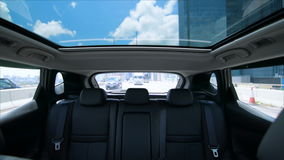 Outdoor glass roof top car cabin. stock video