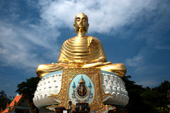 Outdoor golden big Buddha in Middle of Thailand . Royalty Free Stock Image