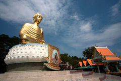 Outdoor golden big Buddha in Middle of Thailand . Stock Photos