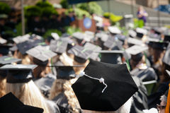 Outdoor Graduation Ceremony. A speaker giving a graduation speech at an outdoor university commencement ceremony Royalty Free Stock Photo
