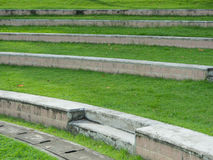 Outdoor green yard in the park stairs curve line patten from lef Stock Photo