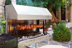 Outdoor Grill with meat in Naxos Island, Greece. Royalty Free Stock Photo
