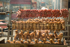 Outdoor Grilled Meat with Chicken, Pork and sausages Stock Photos