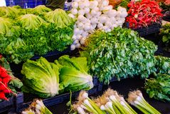 Outdoor grocery stall, market place, vegetables royalty free stock images