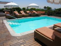 Outdoor in-ground pool Royalty Free Stock Photo