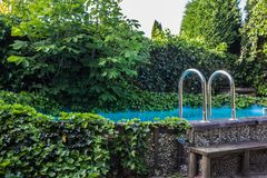Outdoor in ground residential swimming pool in backyard with hot tub and many green plants. On a sunny day stock photography