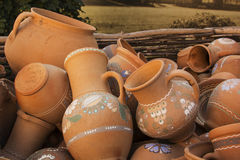 Outdoor group of ceramic crockery Royalty Free Stock Photography