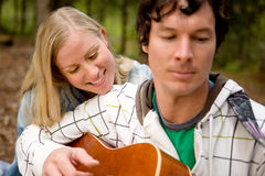 Outdoor Guitar Couple Stock Photos