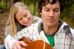 Outdoor Guitar Couple Stock Photos