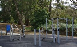 Outdoor gym equipments in public park royalty free stock image