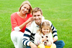 Outdoor happy caucasian family relaxing Royalty Free Stock Image