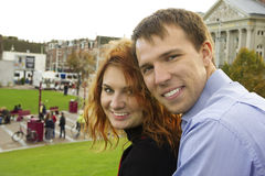 Outdoor happy couple in love, Museum Plein, autumn Amsterdam Royalty Free Stock Images