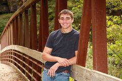 Outdoor High School Senior Portrait Cute Male Royalty Free Stock Photos