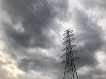 Outdoor high voltage tower. On raining day Royalty Free Stock Images