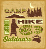 Outdoor Hiking Recreation Collage. Outdoor Hiking RecreationnCamping t-shirt design Stock Photography