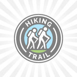 Outdoor hiking trail symbol with hikers icon Royalty Free Stock Image