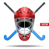 Outdoor Hockey Field symbol. Hockey Field symbol with helmet with sticks. Hockey on grass. Vector Illustration  on white background Royalty Free Stock Photography