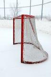 Outdoor Hockey Net. A hockey net in an outdoor arena Stock Photo