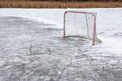 Outdoor Hockey Net. A ice hockey net on an outdoor pond rink Royalty Free Stock Photography