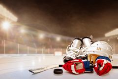 Outdoor Hockey Stadium With Equipment on Ice Royalty Free Stock Image