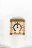 Outdoor home window thermometer in winter Stock Image