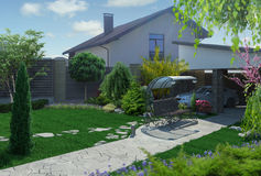 Outdoor Homestead Landscape, 3D Rendering. Three dimensional illustration of homestead landscaping Stock Photography
