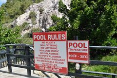 Outdoor hot pool sign Royalty Free Stock Photography
