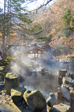 Outdoor hot spring, Onsen in japan in Autumn. Outdoor hot spring in mountain, Onsen in japan in Autumn Stock Image