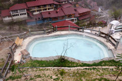 Outdoor hot spring pools. The mountain scenery of outdoor hot spring pools. China sichuan HaiLuoGou ii camp scenic spot Royalty Free Stock Photography