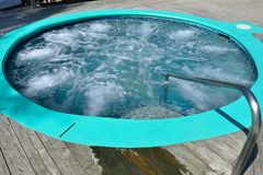 Outdoor Hot tub. With bubbles stock image
