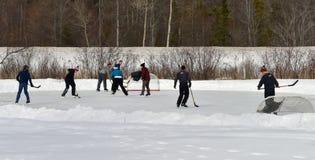 Outdoor ice hockey Royalty Free Stock Photography