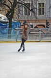 Outdoor ice rink under the sky Royalty Free Stock Image