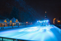 Outdoor ice skating rink and Christmas tree in Pyatigorsk (Russi Royalty Free Stock Photo