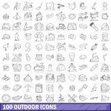 100 outdoor icons set, outline style. 100 outdoor icons set in outline style for any design vector illustration Royalty Free Stock Images