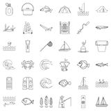 Outdoor icons set, outline style. Outdoor icons set. Outline style of 36 outdoor vector icons for web isolated on white background Stock Photography