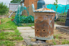 Outdoor incinerator for allotment or garden Stock Photos