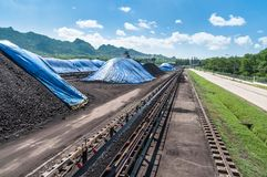 Outdoor incline large conveyor with rubber belt conveyor for transportation line for processing the coal in the coal mine. stock images