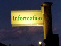 Outdoor  Information Sign at night Royalty Free Stock Images